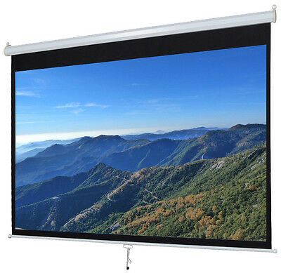 """100"""" Manual Projection Screen Pull-Down Projector 16:9 Home HD Movie Matte White"""