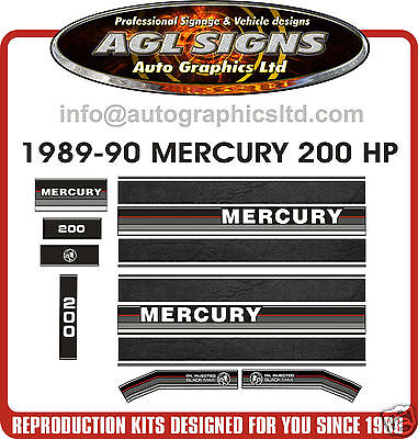 1989-1990  MERCURY 200 hp OUTBOARD DECALS, MERC BLACK MAX, 135, 150, 175