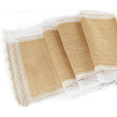 Burlap Hessian Lace Wedding Table Runner Vintage Rustic Country Decorations