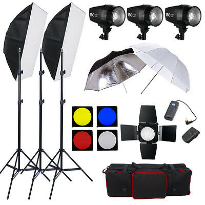 3x180W STROBE STUDIO FLASH LIGHT KIT LIGHTING SET Photo Canon Nikon Sony Pentax