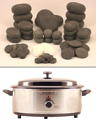 MassageMaster HOT STONE MASSAGE KIT: 50 Basalt/Marble Stones + 6.5 Quart Heater