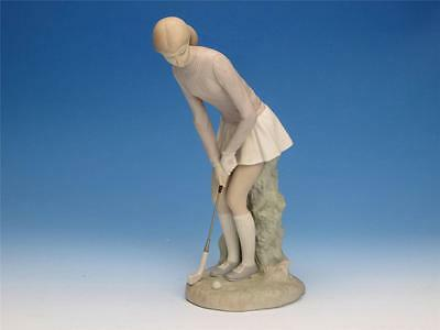Lladro Woman Lady Golfer About to Hit the Ball Golf Figurine