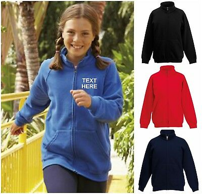 New Personalised Kids Boys Girls Fruit Of The Loom Zip Fleece Back To School