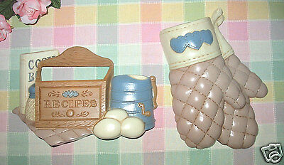 Home Interiors Kitchen Wall Plaques ~ Recipes & Oven Mitten Homco - Pockets