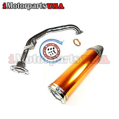 Chrome Gy6 49Cc 50Cc Scooter High Performance Exhaust Perforated Racing Muffler