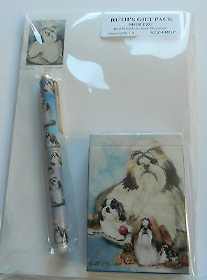 Ruth Maystead Gift Pack playing cards, pen, note pad, Shih Tzu-dogs