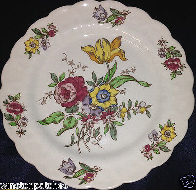"""Booths China England Plymouth A8007 Bread & Butter Plate 7 1/2"""" Flowers"""