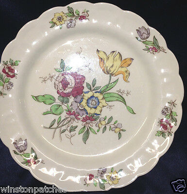 """Booths China England Plymouth A8007 Dinner Plate 10 1/4"""" Multicolor Flowers"""