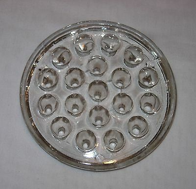 """Old Antique Vintage Clear Glass Crystal Flower Frog 5"""" Round Heavy"""