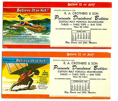 """2 1952 Redwood City, Calif Company Ink Blotters RIPLEY""""S BELIEVE IT OR NOT!"""