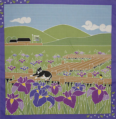 Furoshiki Wrapping Cloth Japanese Cat Fabric 'Tama in the Irises' Cotton 50cm