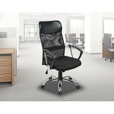 Ergonomic High Mesh Back PU Leather Office Chair Black Computer Desk