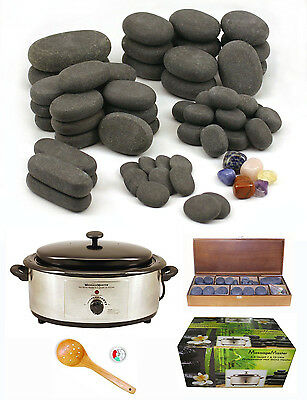 MassageMaster HOT STONE MASSAGE KIT: 64 Basalt/Chakra Stones + 6.5 Quart Heater