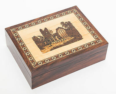 An Antique Tunbridge Ware Box Inlaid with a Scene of Muckross Abbey