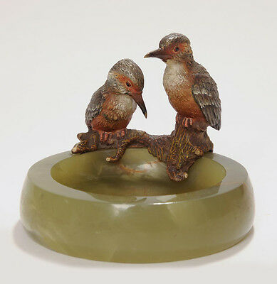 A Cold Painted Bronze Pair Kingfishers On Onyx Base - Austrian Art Deco c1925