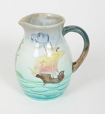 A Bretby Pottery Art Deco Period Ship Jug with Incised Design