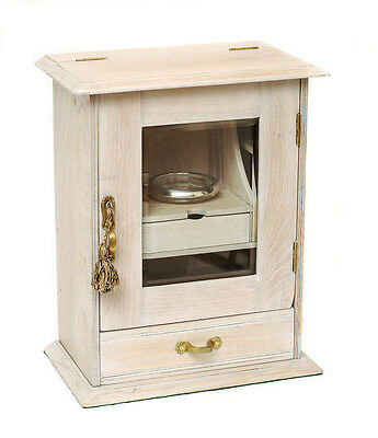 An Edwardian Antique Limed Oak Smokers/Cigar Cabinet with Glazed Door c.1900