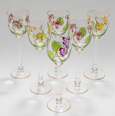 Antique Theresienthal Art Nouveau Painted/Enameled Tall Wine Glass Set
