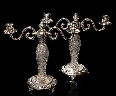 Pair Antique Cut Glass & Silver Plated Two Branch Candelabra - Edwardian c.1910