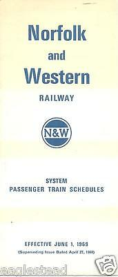 Railroad Timetable - Norfolk and Western - 01/06/69