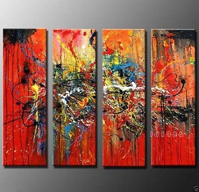NEW - MODERN ABSTRACT HUGE LARGE CANVAS ART OIL PAINTING 4PC (no Framed)