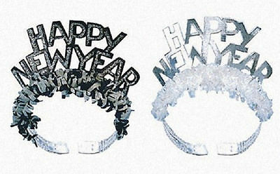 6 Black & Silver Foil Glitter Tiaras with Fringe Party New Years Eve