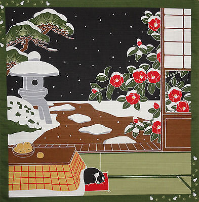 Furoshiki Cat Fabric 'Tama on a Snowy Night' Japanese Cotton 50cm