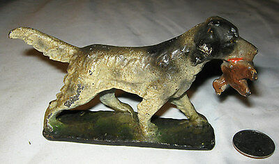 RARE ANTIQUE HUBLEY CAST IRON HUNTING DUCK DECOY DOG w/ BIRD PAPERWEIGHT BOOKEND