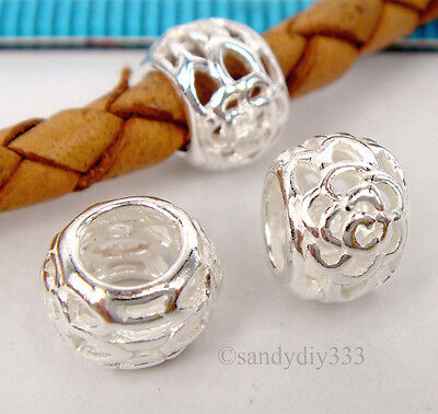 2x BRIGHT STERLING SILVER FLOWER RONDELLE SPACER BEAD 7.8mm #1779