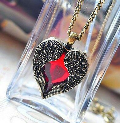 Paranormal Beautifu Red Crystal Heart Wings Pendant and Chain WICCA Metaphysical