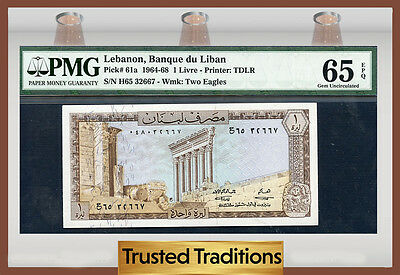 TT PK 61a 1964-68 LEBANON 1 LIVRE PMG 65 EPQ GEM POP ONE FINEST KNOWN!