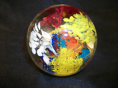 Glass paperweight round yellow orange red flowers fireworks handcrafted art Vtg