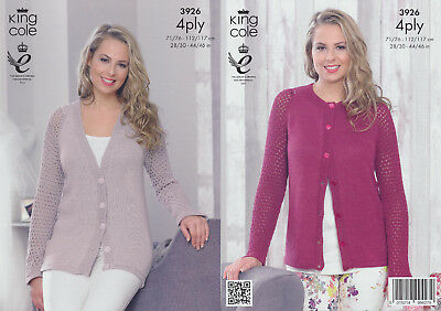 Ladies 4Ply Knitting Pattern King Cole Womens Knit Long Sleeved Cardigans 3926