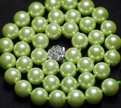 """Rare 10mm Apple Green South Sea shell Pearl Necklace 18"""" AAA"""