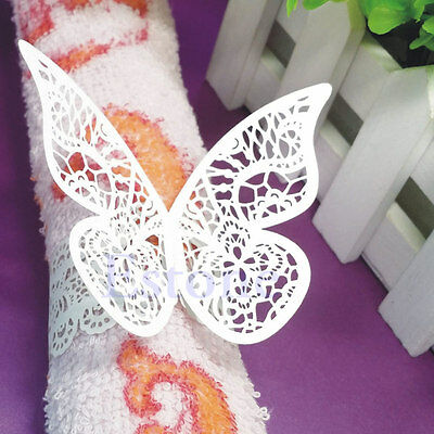 12pcs Butterfly Napkin Ring Serviette Holder Wedding Banquet Dinner Decor Favor