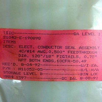 "Electric Conductor Seal Assembly N11052-05 4C/+14Awg 180/12"" NPT Both Ends 10CFR"