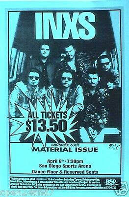 "Inxs/material Issue 1994 ""full Moon, Dirty Hearts Tour"" San Diego Concert Poster"