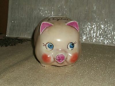 Vintage 1973 Elizabeth Personalized Porcelain Ceramic Pig Piggy Bank Gentle Use