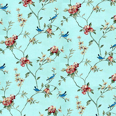 Dolls House Wallpaper 1/12th 1/24th scale Birds Blue Quality Paper #263