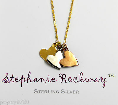 Rose Yellow White Gold Plated Silver Three Heart Pendant Necklace Yellow Chain