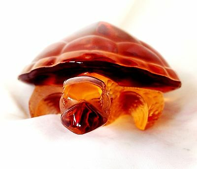 Lalique French Crystal Art Glas Amber Caroline Turtle Etched Signed w All Labels