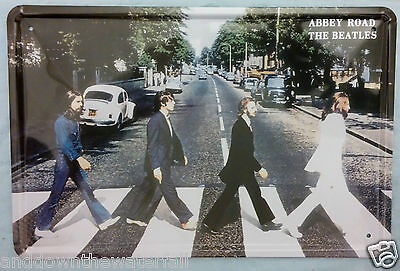 Large 11'x8 inches Tin Wall Sign Beatles crossing Abbey Road John Lennon Iconic