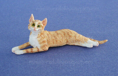 Miniature Dollhouse Orange And White Laying Cat 1:1 2 Scale New