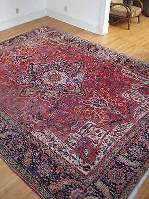 Persian Wool Area Rug Carpet Heriz Red Black Beige 9.75 Ft x 12.75 Ft
