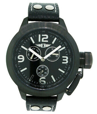 I by Invicta IBI70113-003 Men's Round Analog Black Day Date Black Leather Watch