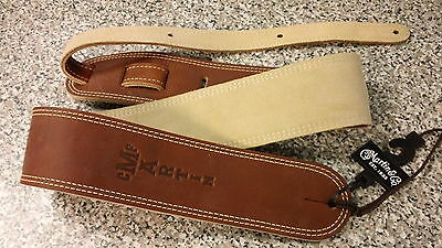 C.F.Martin Brown Ball Glove Leather Suede Back Guitar Strap Martin Inlay 18A0012