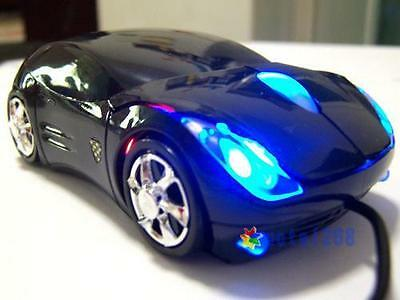 USB 2.0 Wired Blue LED Black Car Shape USB 3D Optical Mouse Mice For PC Laptop