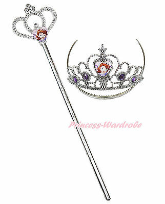 Princess Sofia Costume Tiara Crown Scepter Fairy Wand Kid Girl Party Accessory