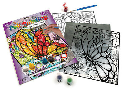 Butterfly Butterflies Foil Painting Paint By Numbers Glass Art Craft Kit Fbpn1