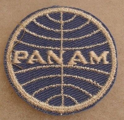 "1960'S RARE OBSOLETE ""PANAM"" AIRLINER PATCH EMB ON TWILL W/ GAUZE BACK CE"